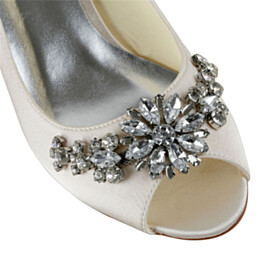 Wedding Shoes For Women Dress Shoes Open Toe Shoes With Rhinestones Low Heels Pumps