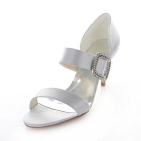 Summer 3 inch High Heel Wedding Shoes For Women Sandals For Women Light Gray Cute Satin Dress Shoes Rhinestones