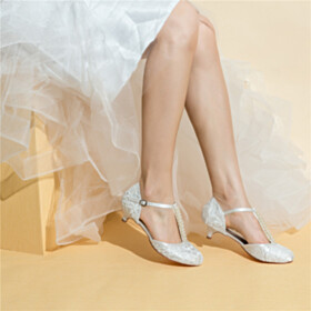 Beaded Dress Shoes White Beautiful Sandals For Women Wedding Shoes Lace Low Heeled Round Toe