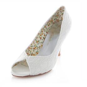 Elegant Wedding Shoes For Bridal Ivory Peep Toe Pumps Dress Shoes Slip On 3 inch High Heel Stilettos