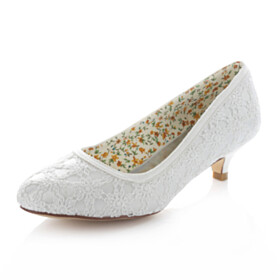 Lace White Shoes Bridal Shoes 4 cm Low Heel Slip On Pumps
