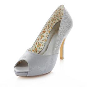Platform Bridal Shoes Open Toe Silver 10 cm High Heel Glitter Pumps