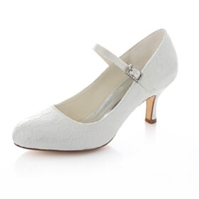 Wedding Shoes For Bridal Pumps Mary Jane With Ankle Strap Stilettos Comfort Mid Heels Lace Elegant