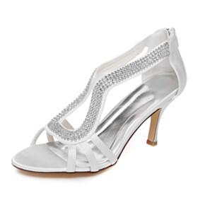 Wedding Shoes Sandals Rhinestones Dance Stilettos 3 inch High Heel Peep Toe
