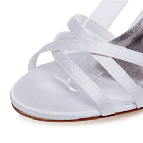 Peep Toe 8 cm High Heel Elegant Sandals With Ankle Strap Wedding Shoes For Women White