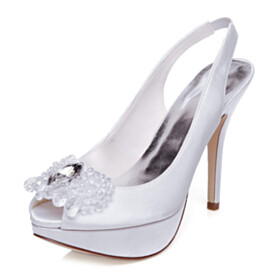 Beautiful High Heel White Stilettos Bridal Shoes Peep Toe Formal Dress Shoes Platform