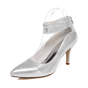 8 cm High Heels Silver Evening Shoes With Ankle Strap Bridal Shoes Sparkly Sequin Pointed Toe Shoes Pumps Stiletto
