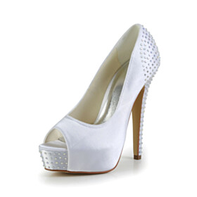 Peep Toe Platform Wedding Shoes For Women Womens Footwear Formal Dress Shoes White 5 inch High Heel Pumps