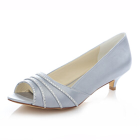 Pumps Light Gray Peep Toe Bridals Wedding Shoes With Rhinestones Kitten Heel Low Heels 2020 Dress Shoes