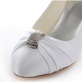 Bridals Wedding Shoes Satin Formal Dress Shoes Mid High Heeled