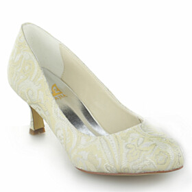 Beautiful 6 cm Mid Heel Formal Dress Shoes Lace Wedding Shoes For Women Womens Shoes Ivory