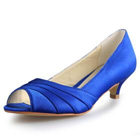 Open Toe Elegant Satin Low Heel Pumps Slip On