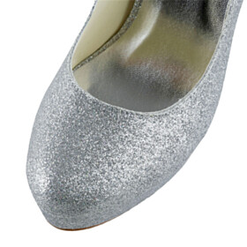Sparkly Pumps Silver Stiletto Womens Shoes Slip On 12 cm High Heels Platform Heel Party Shoes Sequin