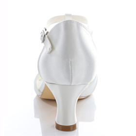 Satin Elegant Rhinestones Wedding Shoes With Ankle Strap Low Heel Peep Toe Sandals Kitten Heel