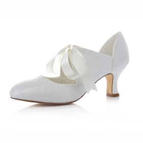 With Bow Comfort Bridal Shoes Low Heeled Dress Shoes Ivory Kitten Heel Womens Shoes