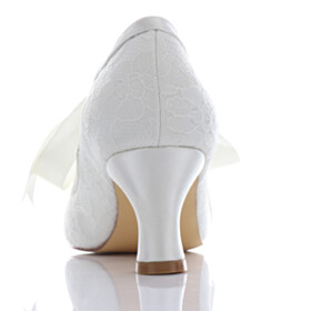 Dress Shoes Low Heeled Lace Almond Toe Wedding Shoes For Women Kitten Heel