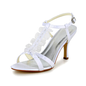 With Ankle Strap Stiletto Strappy Elegant 3 inch High Heel Wedding Shoes For Women With Ruffle Satin Womens Sandals