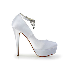 High Heel Fringe With Ankle Strap Pumps Womens Footwear Wedding Shoes For Bridal