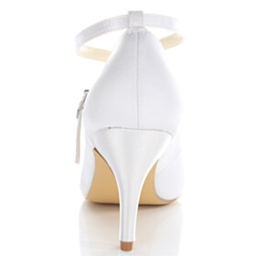 3 inch High Heel Stiletto White Lace Up Formal Dress Shoes With Ankle Strap Satin Pumps Elegant