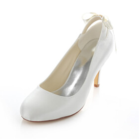 Almond Toe With Bowknot Wedding Shoes For Women 3 inch High Heel Pumps
