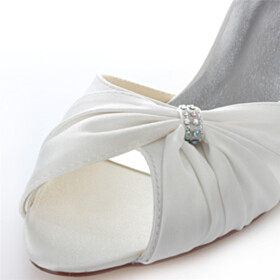 Peep Toe Dress Shoes Wedding Shoes 6 cm Mid Heels Stilettos Ivory Pumps