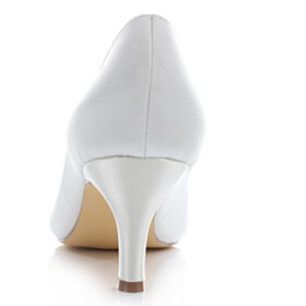 Slip On Pleated Open Toe Comfortable Ivory Pumps 6 cm Heel Wedding Shoes