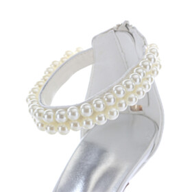 Beaded Sandals For Women Ivory With Bowknot Stilettos 9 cm High Heels Strappy Bridal Shoes Elegant Satin Formal Dress Shoes