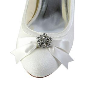 Almond Toe Pumps 6 cm Heeled Dress Shoes Rhinestones White Wedding Shoes For Bridal Satin