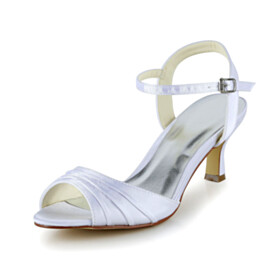 Wedding Shoes For Bridal Dress Shoes Peep Toe Ankle Strap Sandals White 6 cm Mid Heel Elegant