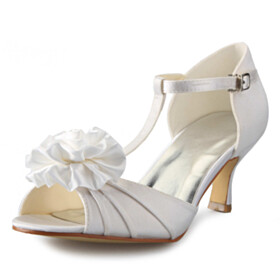 Bridals Wedding Shoes Comfortable Open Toe Pleated Womens Sandals Ankle Strap Buckle 6 cm Mid Heels