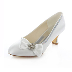 Rhinestones Dress Shoes Satin White Low Heels Wedding Shoes Womens Shoes