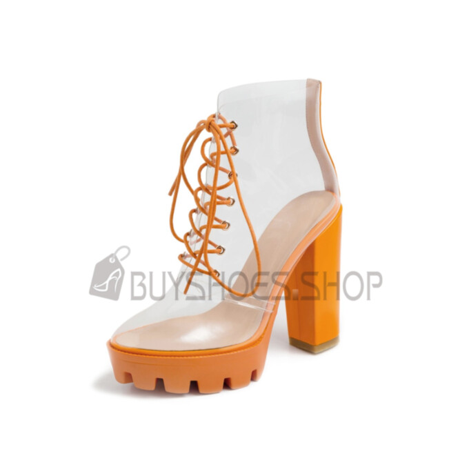 Block Heels Clear Ankle Boots 12 cm High Heeled