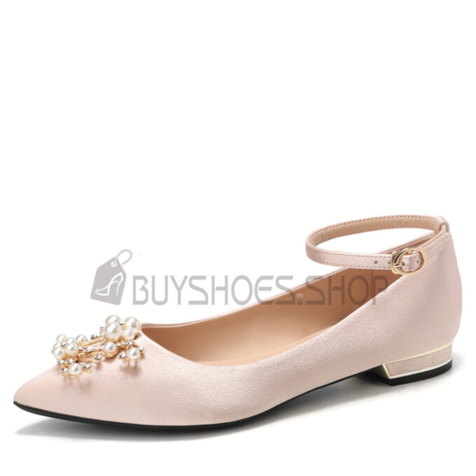 Flat Shoes Beautiful Wedding Shoes For Women Ballet Pointed Toe Ankle Strap