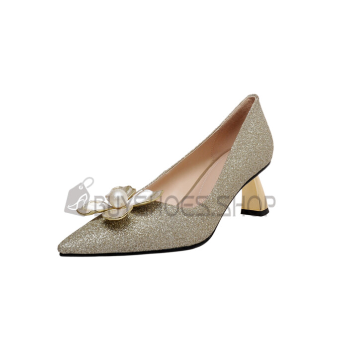 Champagne Chunky 2021 Sequin Prom Shoes Pointed Toe 5 cm Low Heel Flower Closed Toe Dance Pumps Shoes