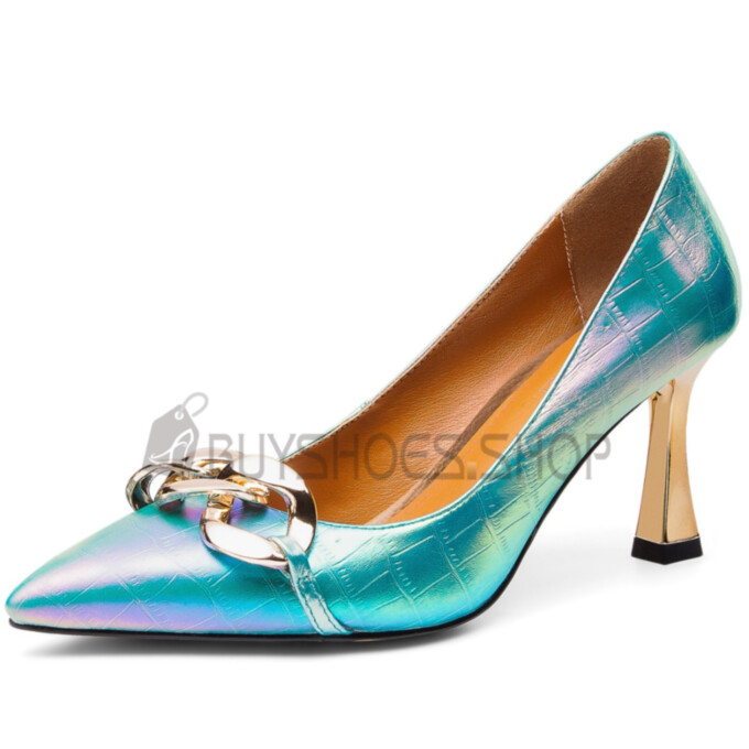8 cm High Heels Gradient Natural Leather Stiletto Turquoise Neon Color Designer Modern Business Casual Shoes Elegant Going Out Shoes Pumps