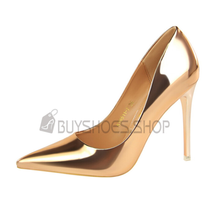 4 inch High Heel Classic Evening Party Shoes Pumps Sexy Metallic Champagne Pointed Toe
