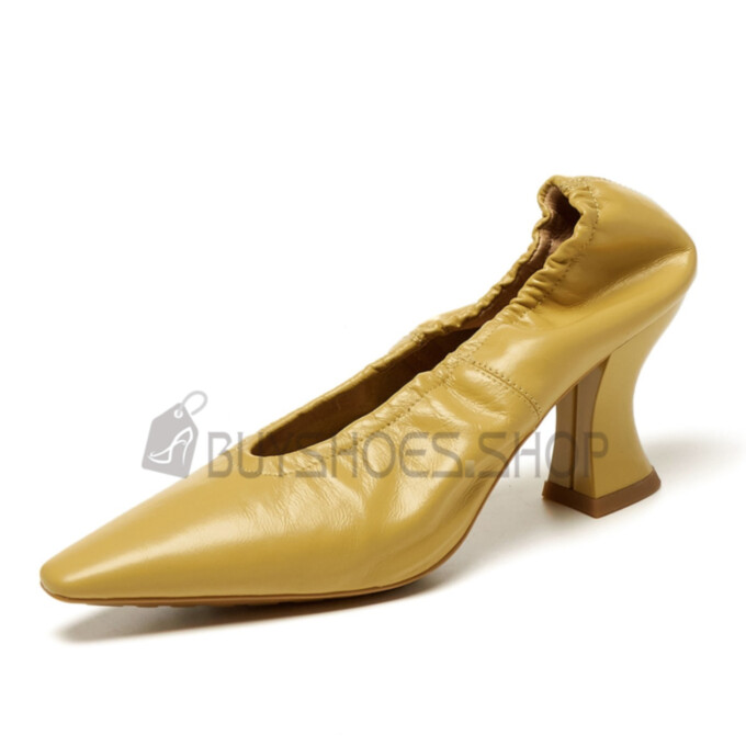 Pumps Closed Toe Pointed Toe High Heel Chunky Yellow Classic Comfort Vintage