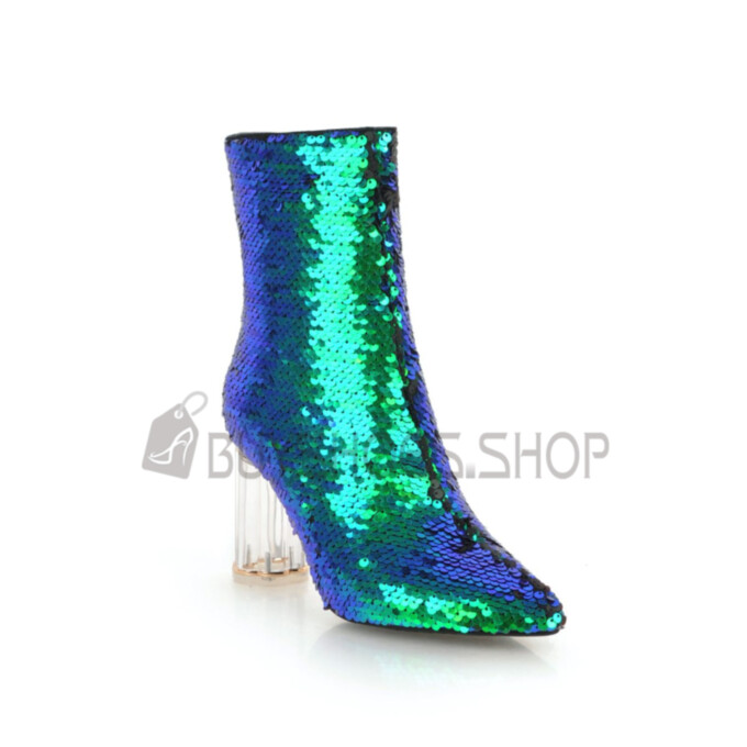 Gradient Fashion Party Shoes High Heels Sparkly Sequin Ankle Boots 2020 Pointed Toe Green