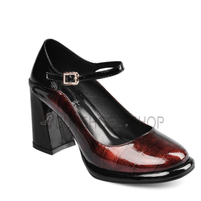 Burgundy Mary Jane Pumps Ombre 3 inch High Heel Thick Heel Block Heels Ankle Strap Crocodile Print Round Toe Business Casual