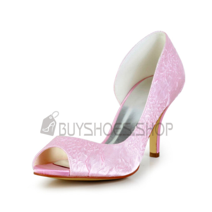 Slip On Embossed Party Shoes Open Toe Wedding Shoes For Women Stiletto 8 cm High Heels Pink Pumps