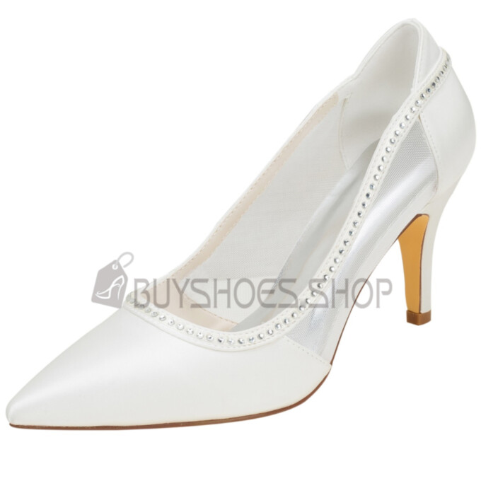 Wedding Shoes Tulle Stiletto Dress Shoes Pumps High Heel Pointed Toe Rhinestones
