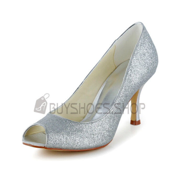 3 inch High Heel Sparkly Bridals Wedding Shoes 2021 Luxury Summer Sequin Open Toe Pumps