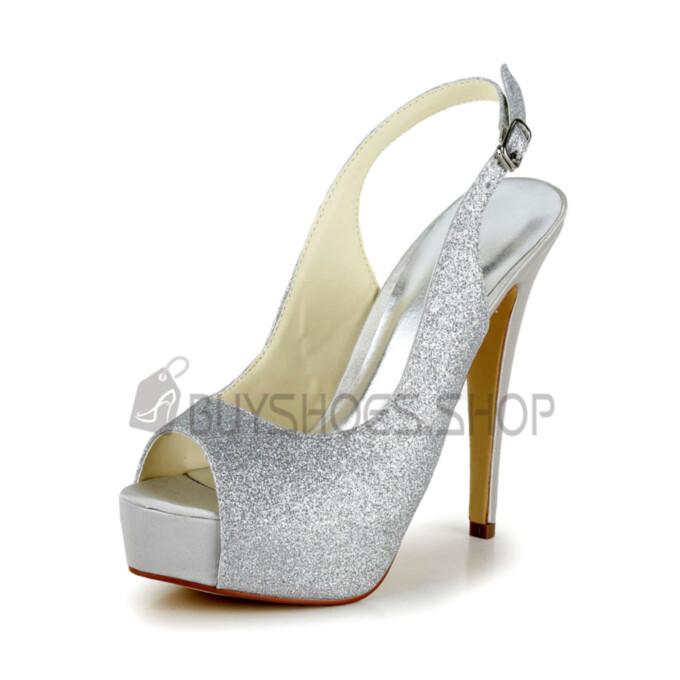 Pumps Silver Summer Stilettos Peep Toe High Heels Sequin Platform Womens Footwear