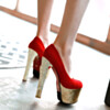 Party Shoes Womens Footwear Platform Velvet Sparkly Round Toe Going Out Footwear 15 cm High Heels