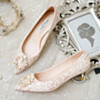 Closed Toe Low Heel Elegant With Pearls Pumps Evening Party Shoes