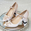 Womens Footwear Elegant Closed Toe Pumps With Ankle Strap Wedding Shoes 7 cm Mid Heel