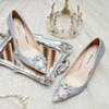 Slip On 3 inch High Heel Pointed Toe Sparkly Silver Pumps Prom Shoes Dress Shoes Sequin