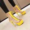 Open Toe Yellow Platform Fashion Stiletto High Heel Ankle Boots Transparent Sandal Boots
